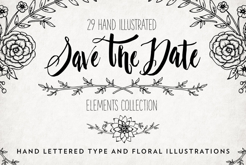 Hand Illustrated Save The Date Overlays