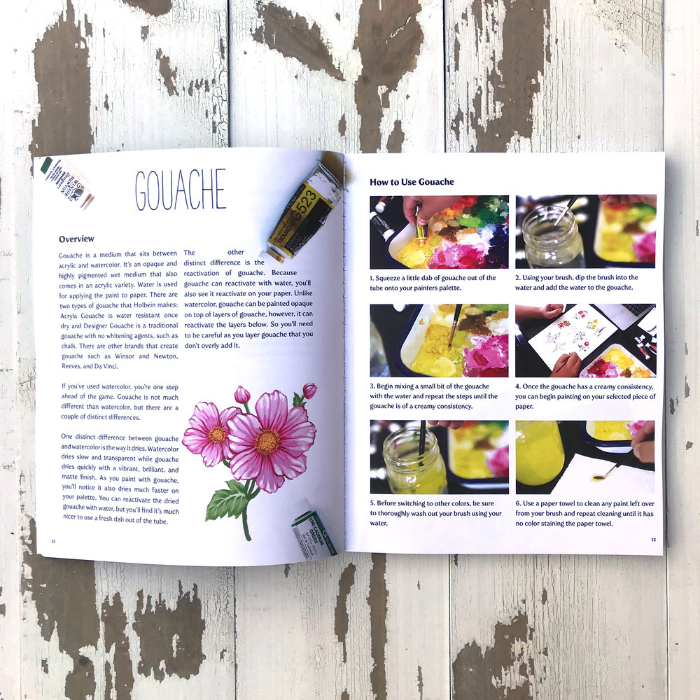 How to draw and paint botanicals and flowers gouache page
