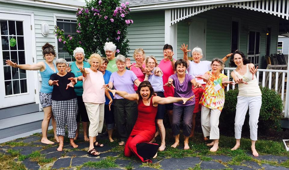 Nia is a wonderful way to connect with community, to bring dancers and 'non-dancers' alike together through joyful, healthy, fun movement. Here I am with a group at a Women's Retreat in Maine. I love how Nia unleashes the unique expressiveness in each individual and at the same time strengthens the feeling of unity we share.