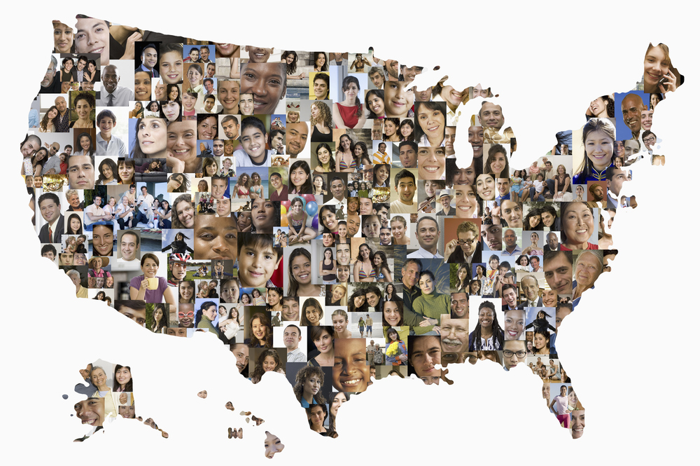 Map of USA with pictures of people