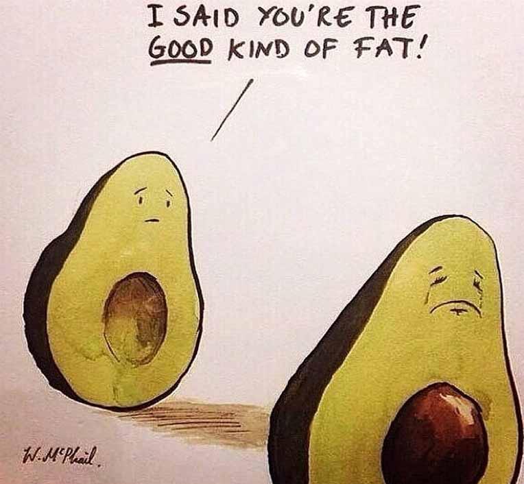 "Avocado Humor - ""I said you're the good kind of fat!"""