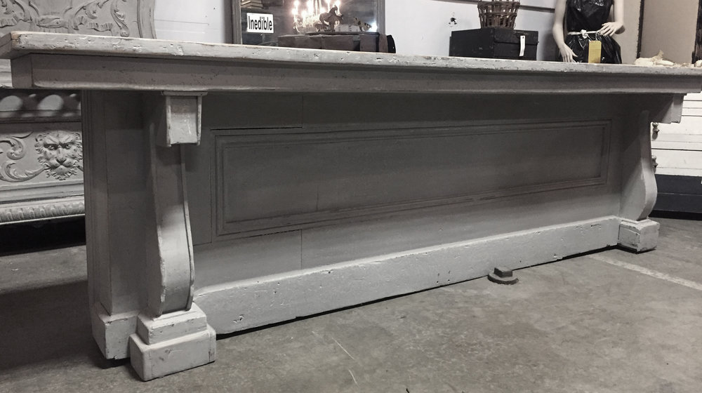 The 19th century vintage store counter makes a wonderful bar and fits right in between 2 columns in the pavillion. The back is fitted with shelves for storage, dimensions are 113X25:   Fee: $300