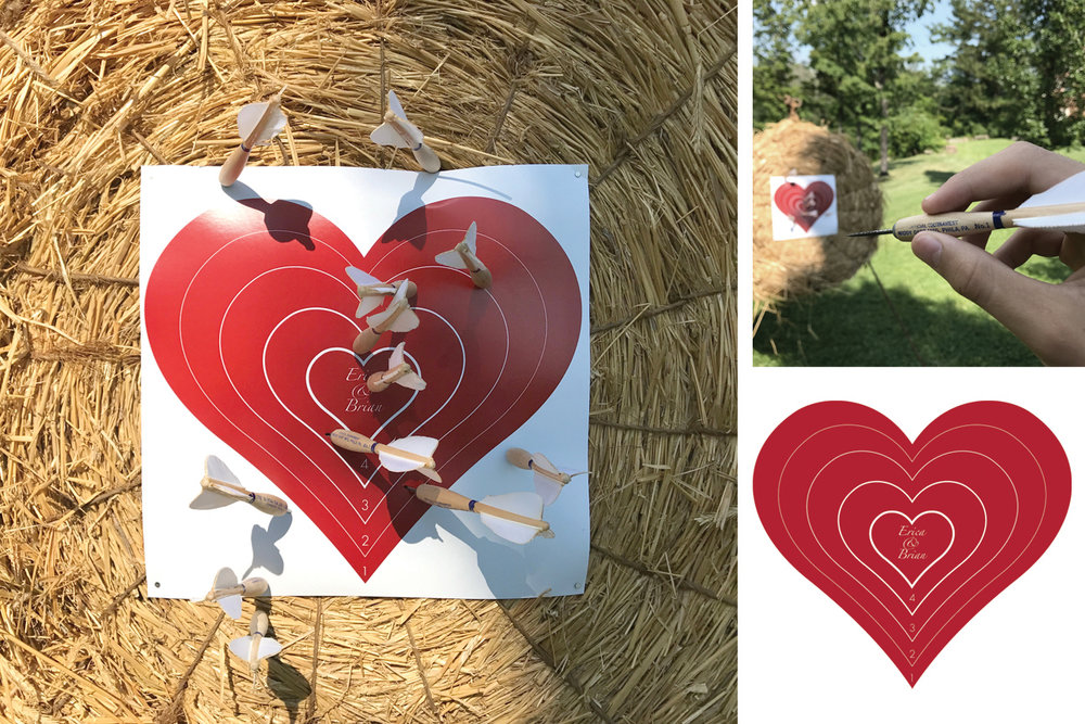 Dart Board Set  The set contains 12 Widdy Classic American Style Steel Tip Tournament Darts, a Vintage Straw Target with a cast iron Tripod Stand and a set of 3 customized target boards with the name of the couple imprinted.