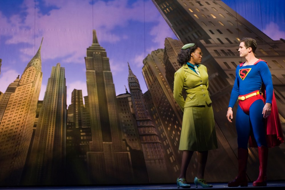 "Zakiya Young and Matt Cavenaugh in ""It's A Bird...It's A Plane...It's Superman."" Photo by Brandon Thibodeaux."
