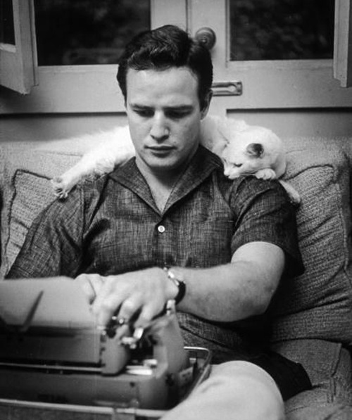 Marlon Brando and his little friend are gaining clarity before they type up their cover letter.
