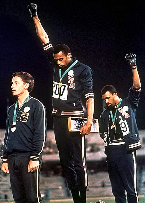 John Carlos (far right), making history.