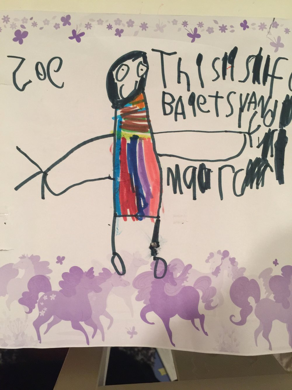 By my favorite artist. This one melts me — I particularly love the rainbow dress I am wearing.