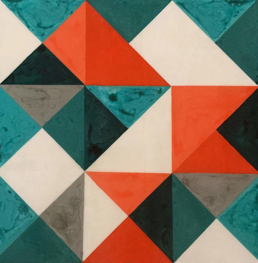 Geometric Quilt l, 2015 Acrylic paint and acrylic encaustic on wood, 24 x 24 inches.