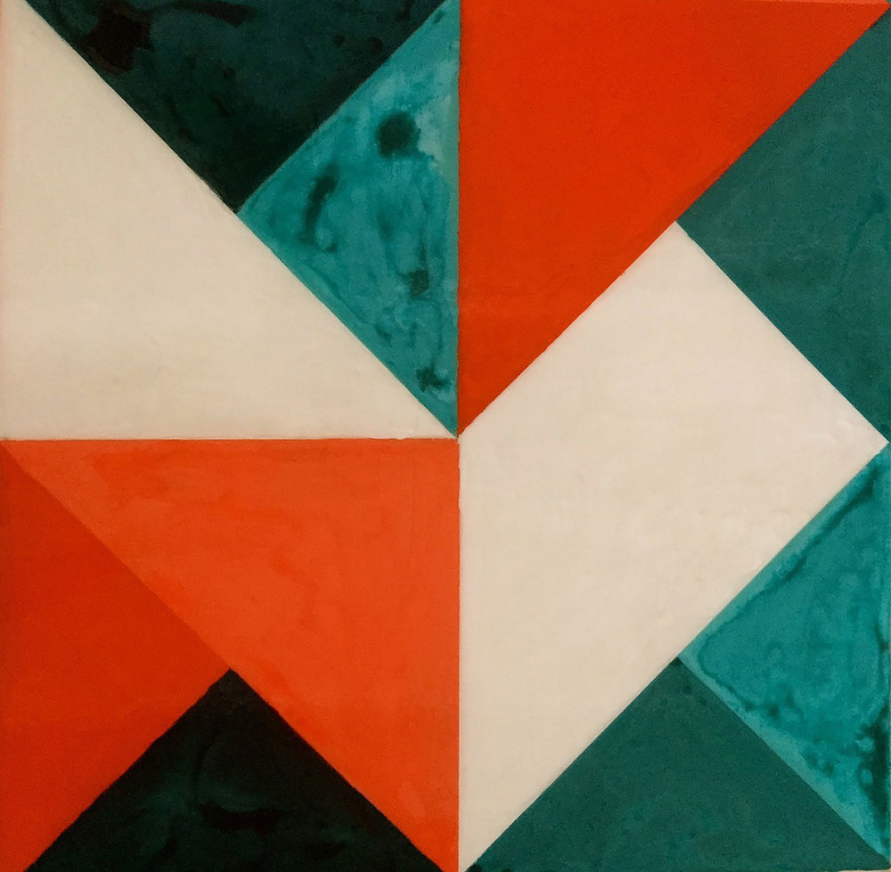 Geometric Quilt 2, 2015 Acrylic paint and acrylic encaustic on wood, 24 x 24 inches.