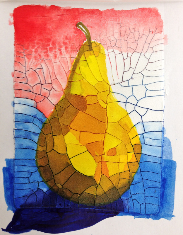 A pear painted on Crackle Paste.