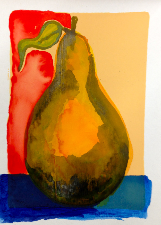 "Pear painted on Absorbent Ground, aka ""Liquid Watercolor Paper"" and in this case tinted with fluid Quinacridone Nickel Azo Gold."