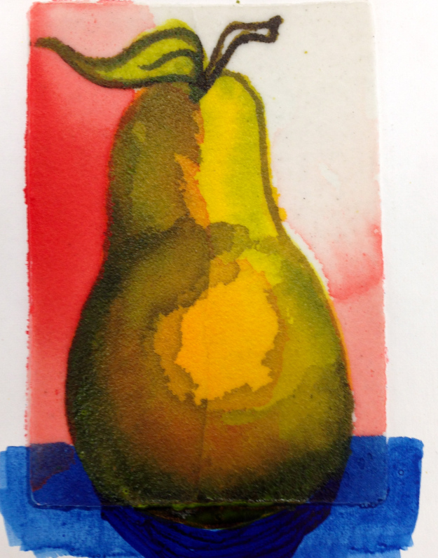 Pear painted on Coarse Molding Paste.