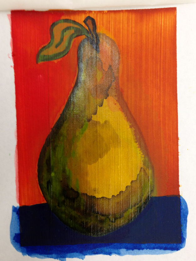 Pear painted on Acrylic Ground for Pastels. This was also tinted with one of my favorite colors Quinacridone Nickel Azo Gold.