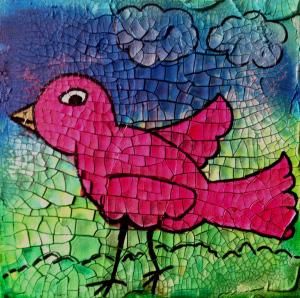Bird painted with High Flow Acrylics on Crackle Paste.