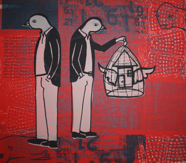 Caged, serigraph (silkscreen), 12 x 14 inches, edition of 12, 2007. Kevin Greeland