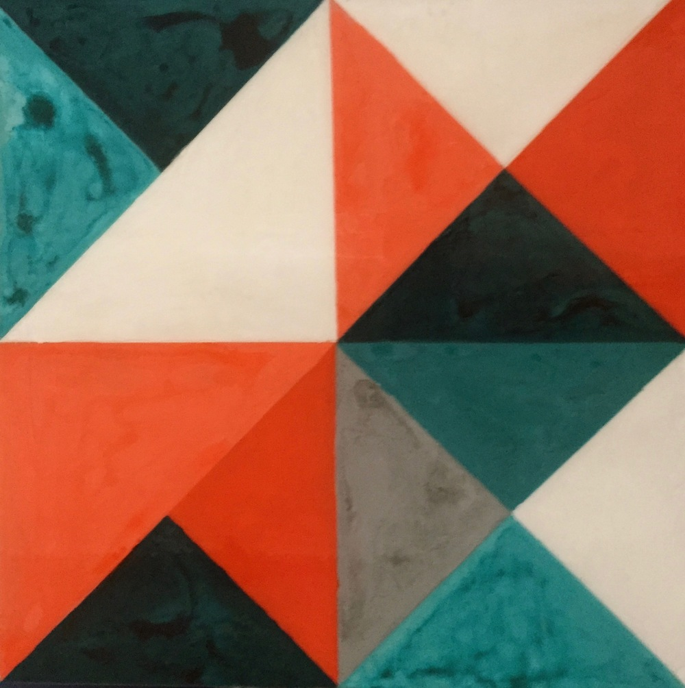 Geometric Quilt 3, 2015 Acrylic paint and acrylic encaustic on wood, 24 x 24 inches.