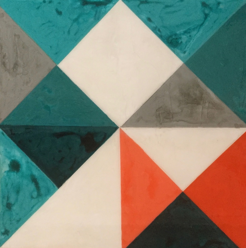 Geometric Quilt 4, 2015 Acrylic paint and acrylic encaustic on wood, 24 x 24 inches.