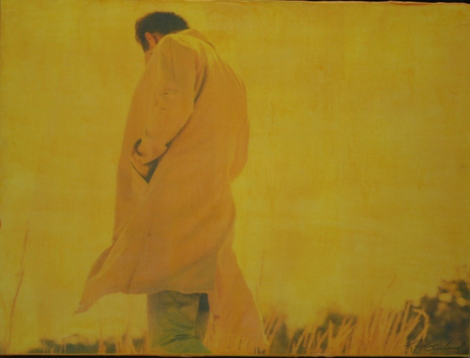 The Stranger 2, 2011 Photograph print and acrylic encaustic on wood panel, 16 x 20 inches.