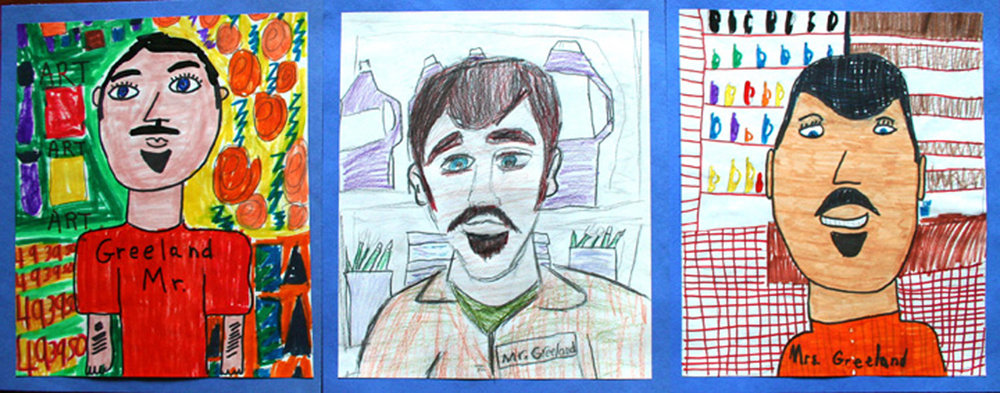 Portraits of Kevin completed by some of his younger students.