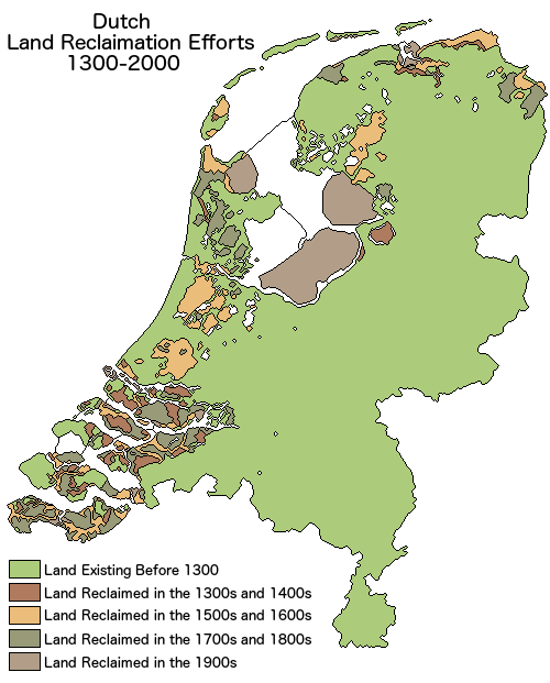 Netherlands Land Reclamation map