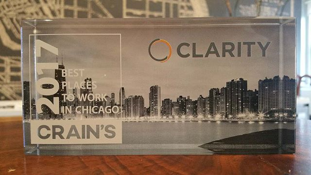We're proud to be named one of the 25 Best Places to Work in Chicago! Thanks to Crain's and the people that make Clarity so great! #ccbbest