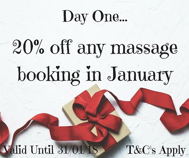 Day one, 20% off all massage bookings! This offer is valid for any massages booked for January and will expire on 31/01/18. Call us on 01788 569111 or message us to book yours now and quote '12daysofxmas' when booking🎁 #christmas#christmasiscoming#rugby#warwickshire#12daysofchristmas#notlongnow#beauty#salon