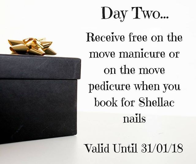Day Two, receive free on the move manicure or on the move pedicure when you book for shellac nails!💅🏽 This offer is valid until the end of January, call us on 01788 569111 or message us to book now quoting '12daysofxmas'🎀 www.beautiquemaison.co.uk
