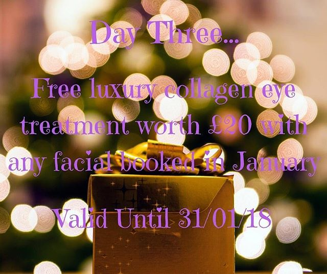Day Three, receive a FREE luxury eye treatment (worth £20) with any facial booked in January. Please call 01788 569111 or message us to book quoting '12daysofxmas'✨ www.beautiquemaison.co.uk #christmas#beauty#feelgood