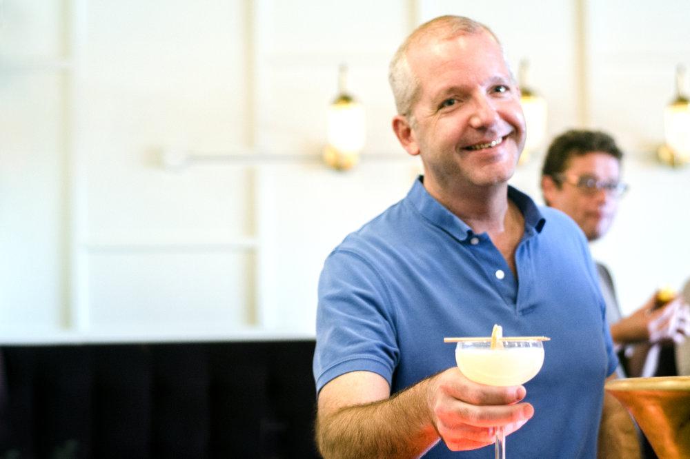 Steven Patterson drinking Doug's off-the-menu Corpse Reviver #5
