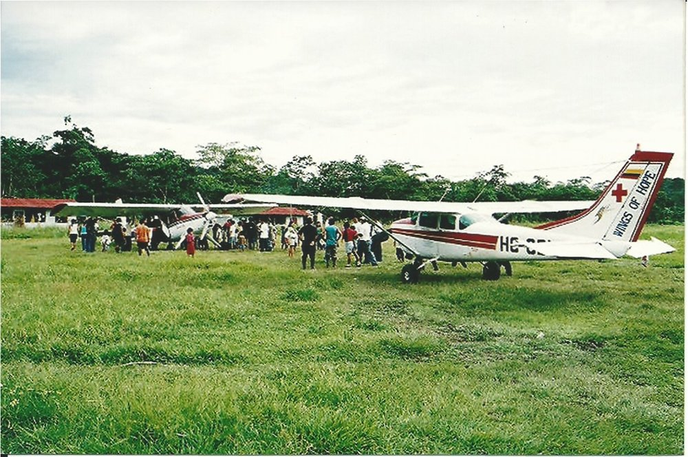 A Wings of Hope airplane touches down in Honduras with medical supplies and gloves.