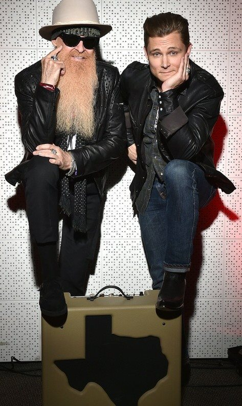 Frankie Ballard with THE Rev. Billy F. Gibbons & his new amp...the coolest cats in ANY room!