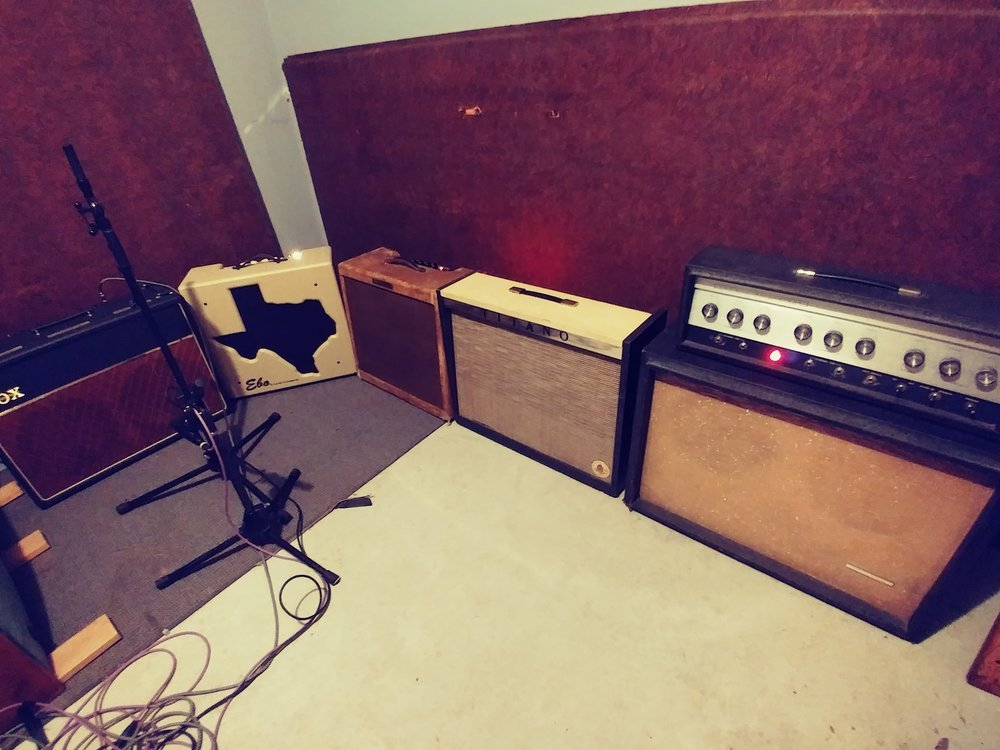 """this was fun...the """"Ebo Booth"""" at Cedar Creek Recorders in Austin (another favorite of mine!), tracking a new record with Johnny Chops & the Razors, spring '17. the Del Rio got a ton of action...way more than I expected. that verb..."""