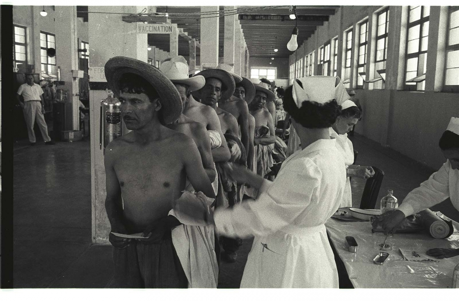 Millions of temporary workers from Mexico came north through the Bracero Program, the US's largest agricultural contract labor program . Here, a bracero is vaccinated while others wait in line at the Monterrey Processing Center, Mexico in 1956.  Credit: Leonard Nadel/Archives Center, National Museum of American History,  Smithsonian Institution