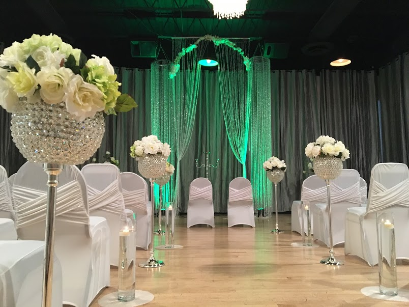 White & Green Wedding Ceremony