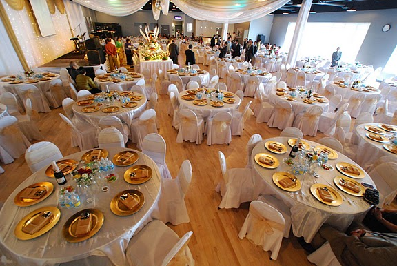 White and Gold Wedding Recpetion
