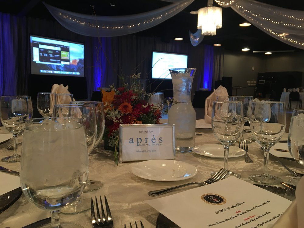 Networking Event Blue & White Table Setting