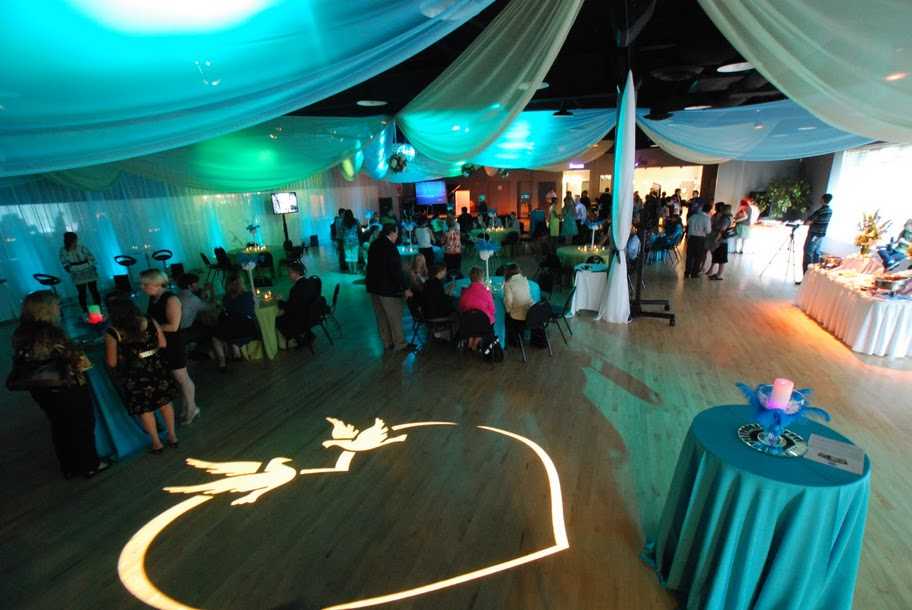 Teal & White Wedding Reception With Specialty Lighting