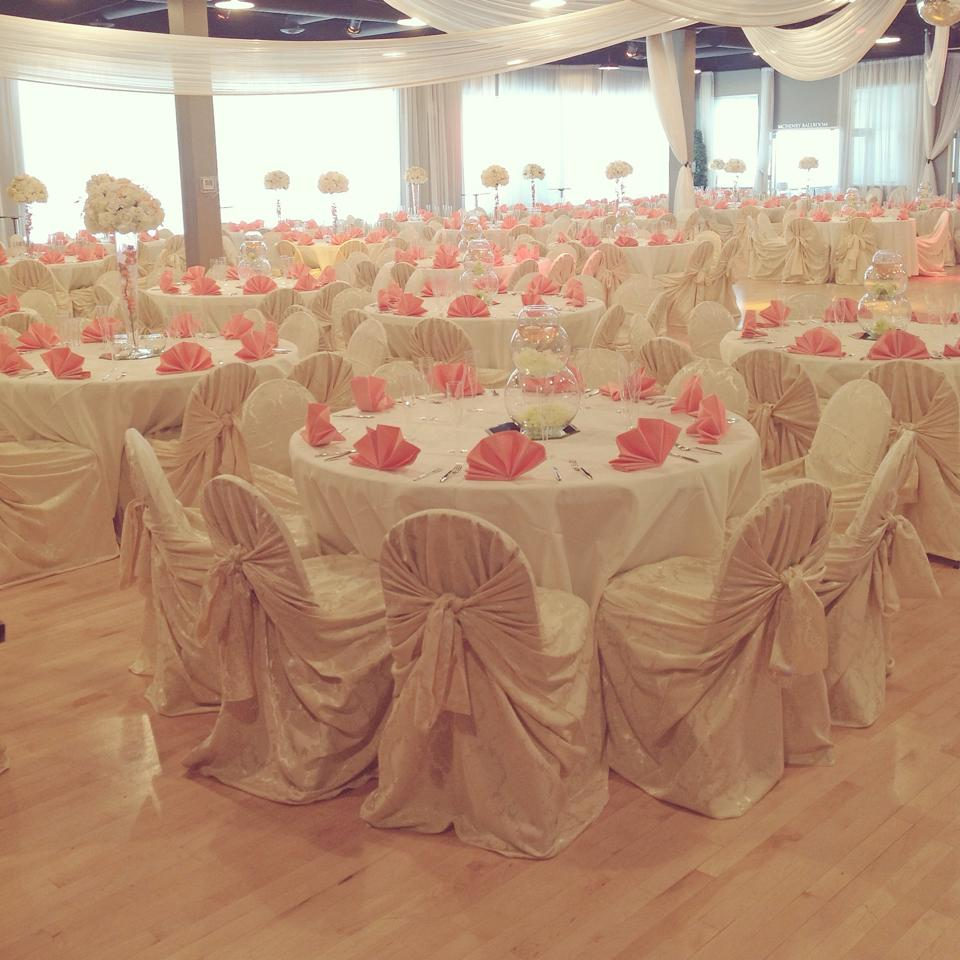 Elaborate White With Touch Of Pink Wedding Reception