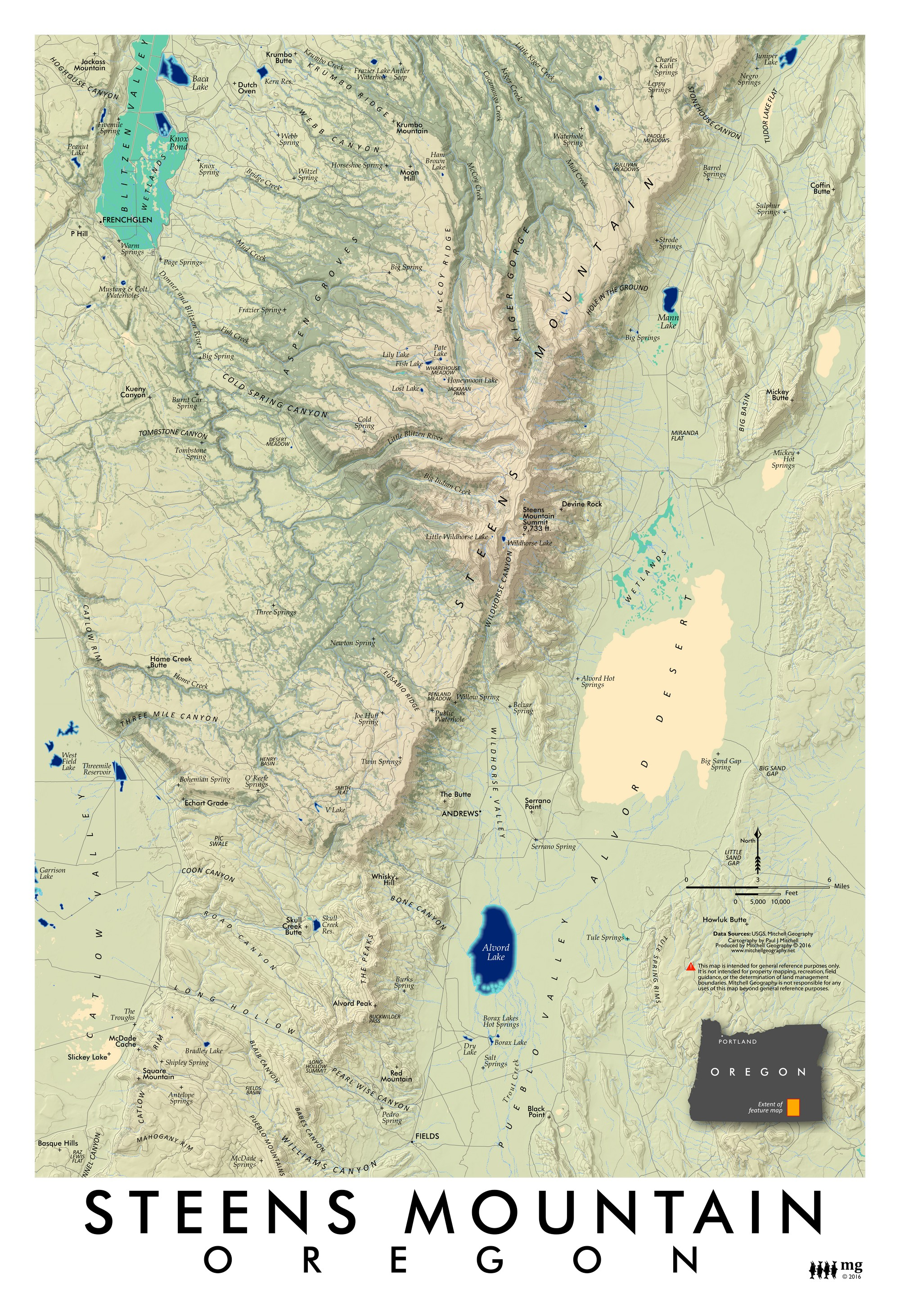 Alvord Desert Oregon Map.Steens Mountain Oregon Mitchell Geography
