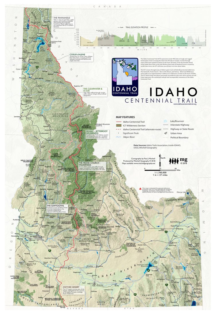 Idaho centennial trail mitchell geography idaho centennial trail map publicscrutiny Gallery