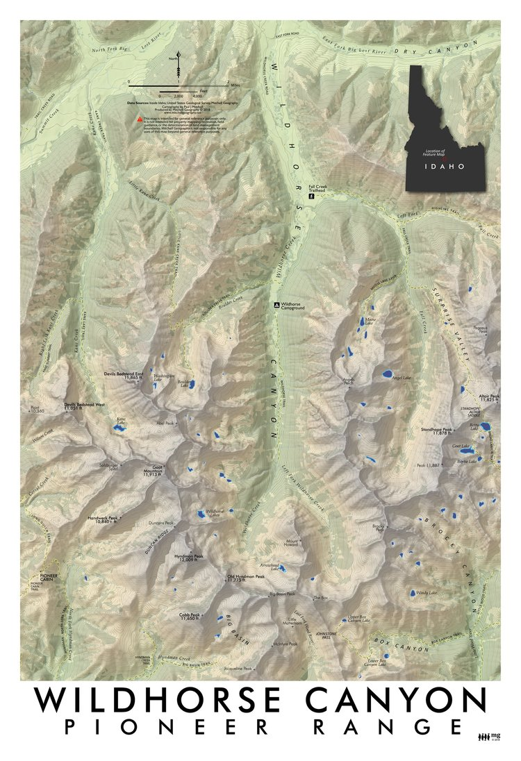Pioneer Mountains Idaho Map.Wildhorse Canyon Pioneer Range Idaho Mitchell Geography