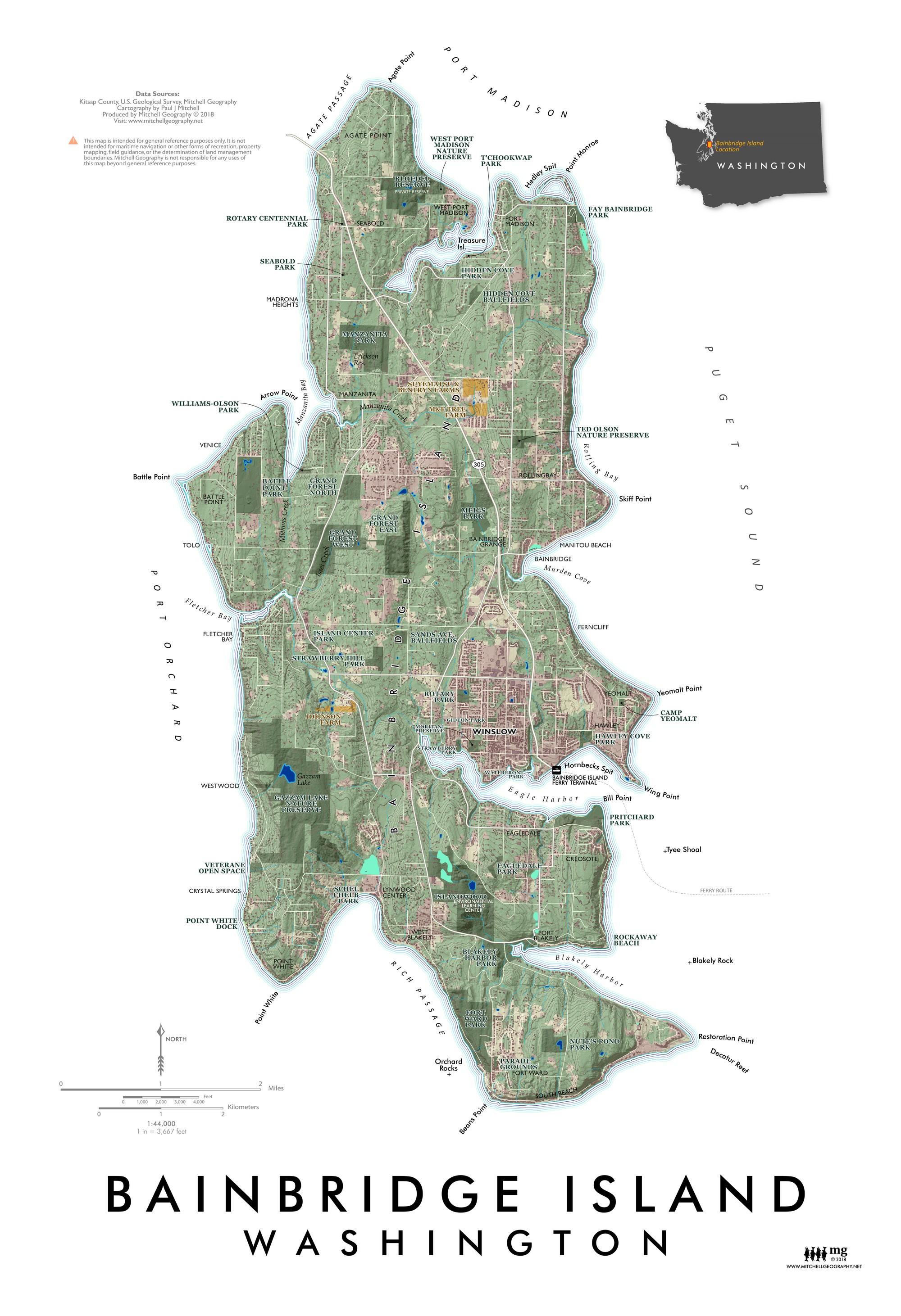 Map Bainbridge Island Bainbridge Island   Washington — MITCHELL GEOGRAPHY