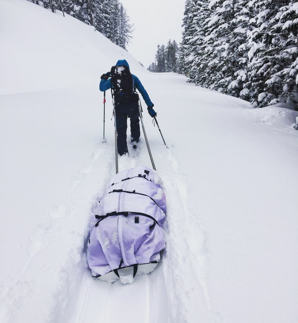 """This last grant was to attempt a BACK-COUNTRY ski traverse north to south through Yellowstone,"" - Lisa and Jamie Lichon skiing in Yellowstone . January 2018."