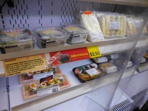 Sandwiches, salads, sushi rolls, etc.