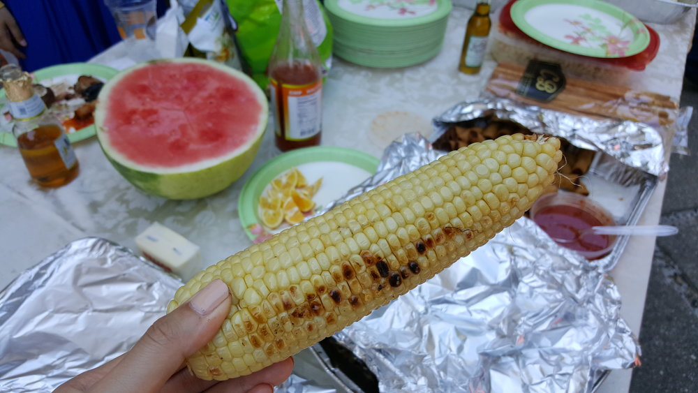Grilled corn on the cob with a ton of butter  😋