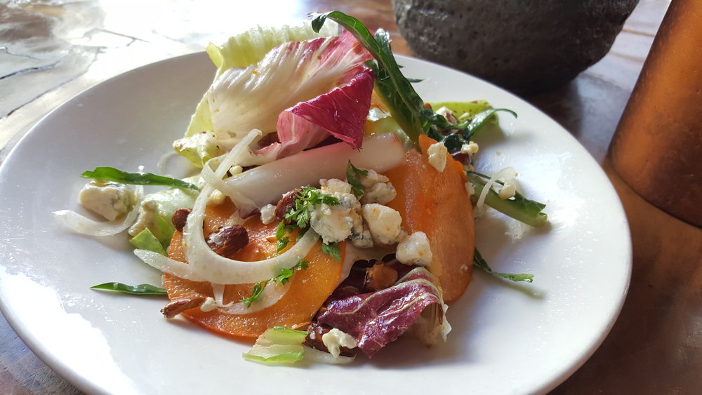 Annabelle's Chicories (Persimmon, Fennel, Blue Cheese, Almonds, Preserved Tangerine Vinaigrette)