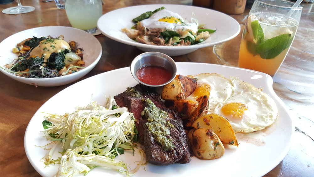 Steak & Eggs (Grilled Bavette, Charred Herb Salsa Verde, Griddled Potatoes, Scallions)