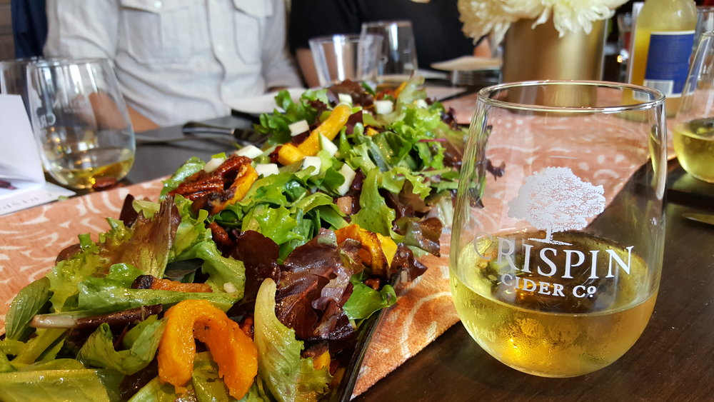 Autumn Salad (Mixed Greens, Pickled Squash, Green Apple, Candied Pecans, Apple Cider Vinaigrette)