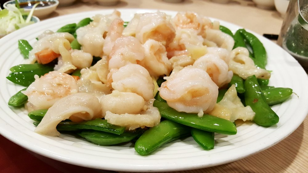 Sauteed Prawns & Conch with Greens