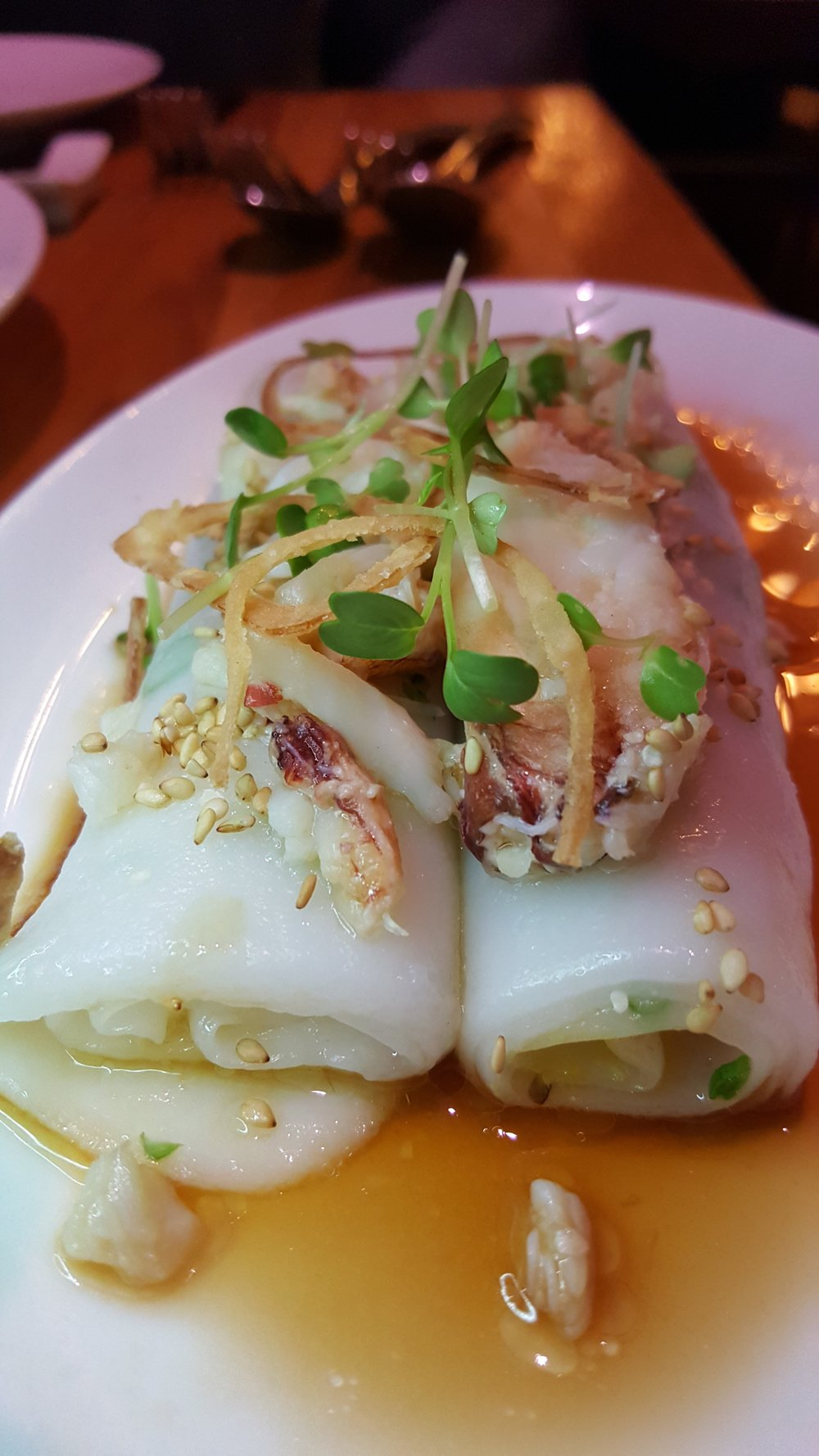 Cheong Fun with Dungeness Crab (rice noodle roll)